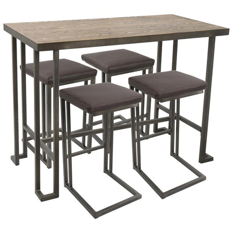 Lumisource Roman 5-Piece Industrial Counter Height Dining Set in Antique and Brown