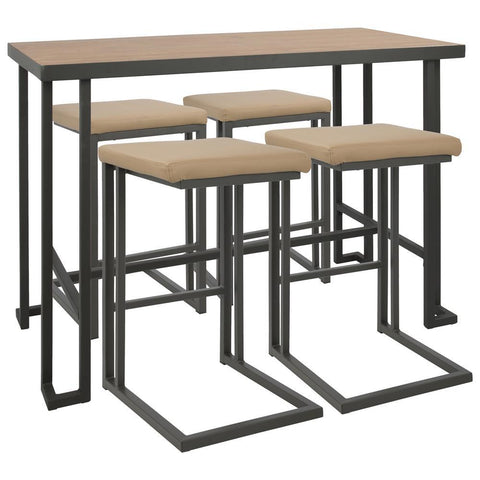 Lumisource Roman 5-Piece Industrial Counter Height Dining Set in Grey and Camel