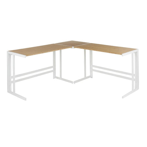 "Lumisource Roman Industrial ""L"" Shaped Desk in White Metal and Natural Wood-Pressed Grain Bamboo"