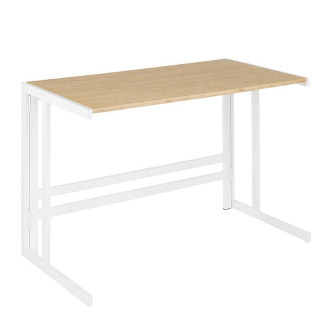 Lumisource Roman Industrial Office Desk in White Metal and Natural Wood-Pressed Grain Bamboo
