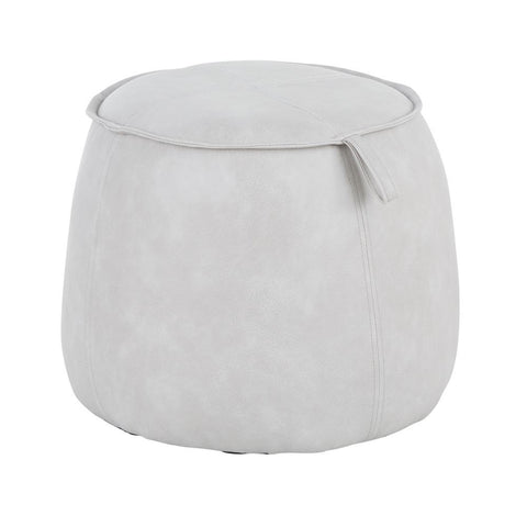 Lumisource Round Contemporary Ottoman in Grey Faux Leather