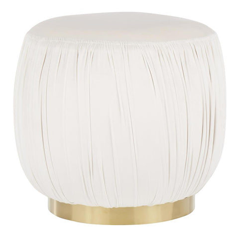 Lumisource Ruched Contemporary Ottoman in Gold Metal and Cream Velvet