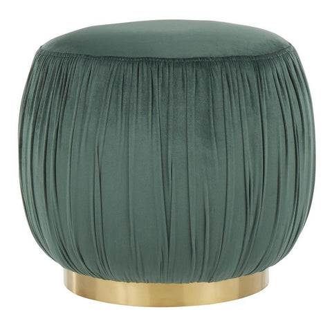 Lumisource Ruched Contemporary Ottoman in Gold Metal and Emerald Green Velvet
