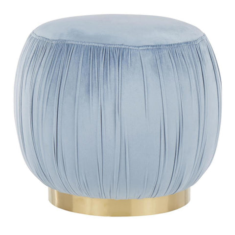 Lumisource Ruched Contemporary Ottoman in Gold Metal and Powder Blue Velvet