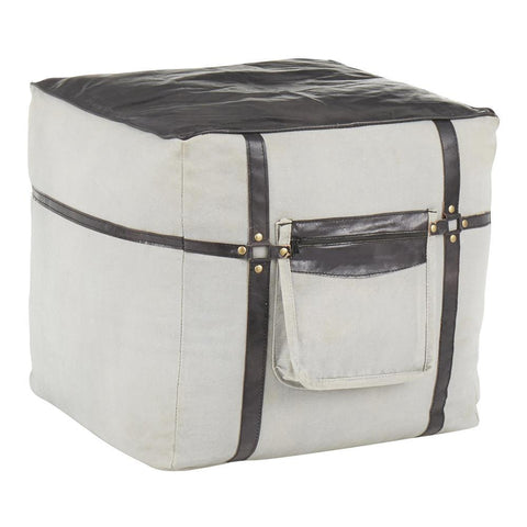Lumisource Samson Industrial Pouf in Grey Canvas and Black Leather
