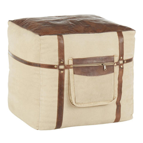 Lumisource Samson Industrial Pouf in Sand Canvas and Espresso Leather