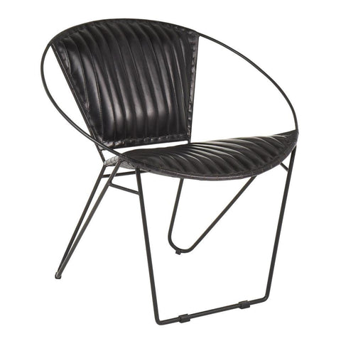 Lumisource Saturn Industrial Chair in Black Metal and Black Leather