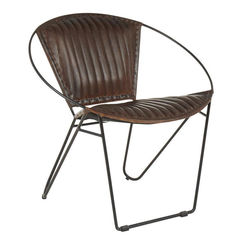 Lumisource Saturn Industrial Chair in Black Metal and Espresso Leather