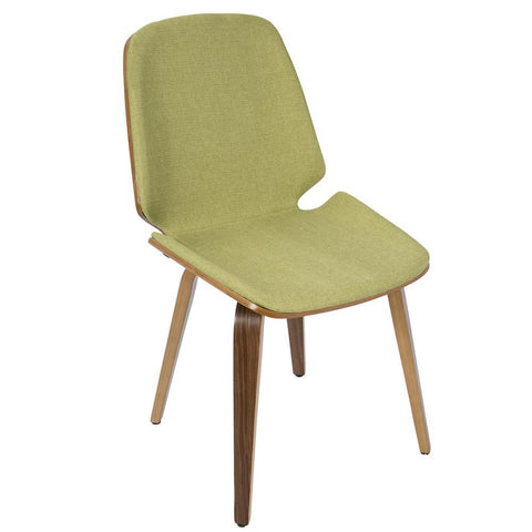 Lumisource Serena Mid-Century Modern Dining Chair in Walnut with Green Fabric - Set of 2