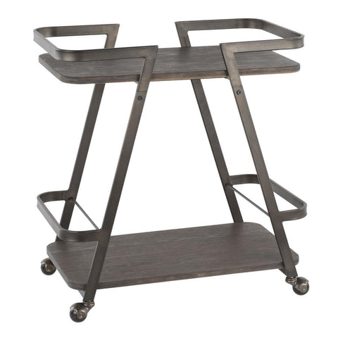 Lumisource Seven Industrial Bar Cart in Antique Metal and Espresso Wood-Pressed Grain Bamboo