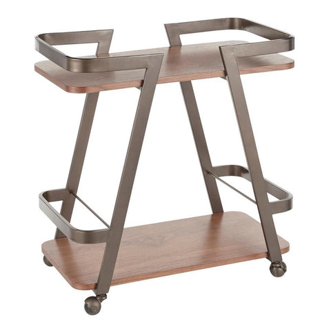 Lumisource Seven Industrial Bar Cart in Antique Metal and Walnut Wood