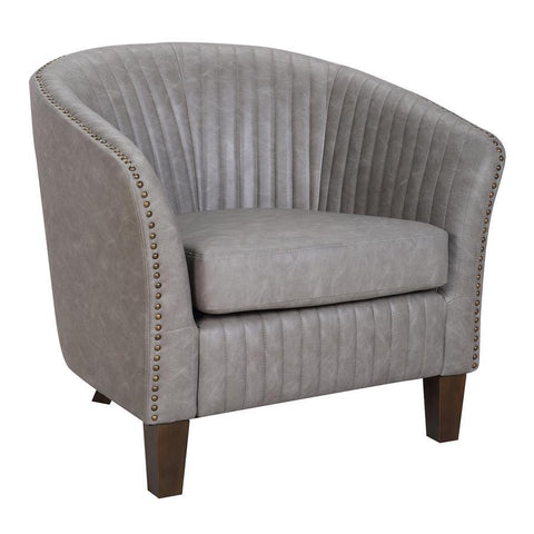 Lumisource Shelton Contemporary Club Chair in Light Grey Faux Leather