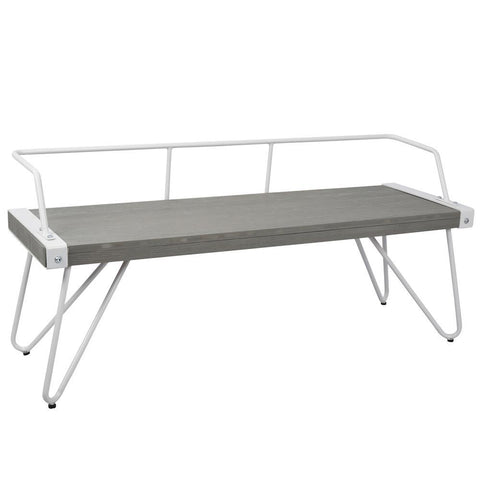 Lumisource Stefani Industrial Bench in White and Grey