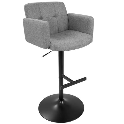Lumisource Stout Contemporary Adjustable Barstool with Swivel in Black with Grey Fabric