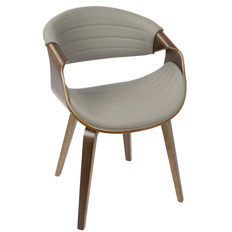 Lumisource Symphony Mid-Century Modern Dining/Accent Chair in Walnut Wood and Grey Faux Leather