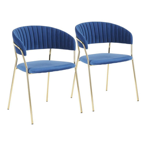Lumisource Tania Contemporary-Glam Chair in Gold Metal with Blue Velvet - Set of 2