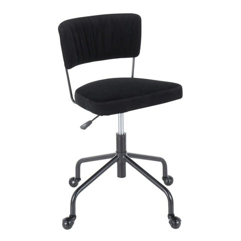Lumisource Tania Contemporary Task Chair in Black Metal and Black Velvet