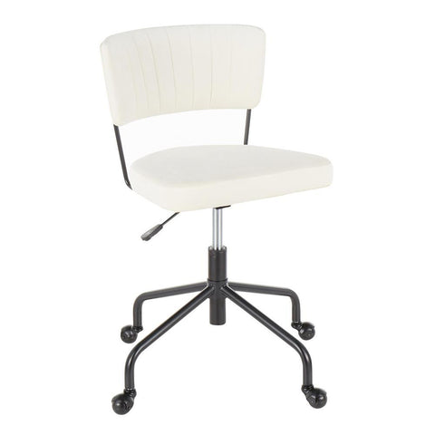Lumisource Tania Contemporary Task Chair in Black Metal and Cream Velvet