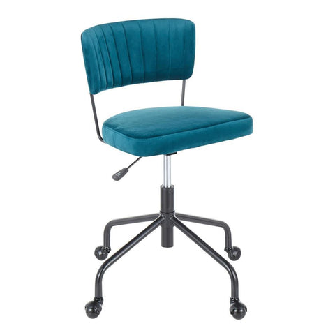 Lumisource Tania Contemporary Task Chair in Black Metal and Teal Velvet