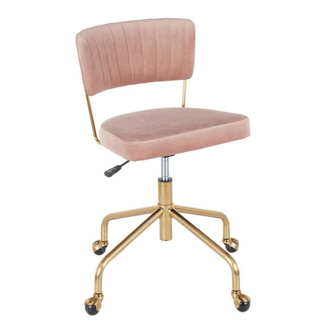 Lumisource Tania Contemporary Task Chair in Gold Metal and Pink Velvet