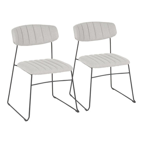 Lumisource Thomas Contemporary Chair in Black Metal and Light Grey Fabric - Set of 2