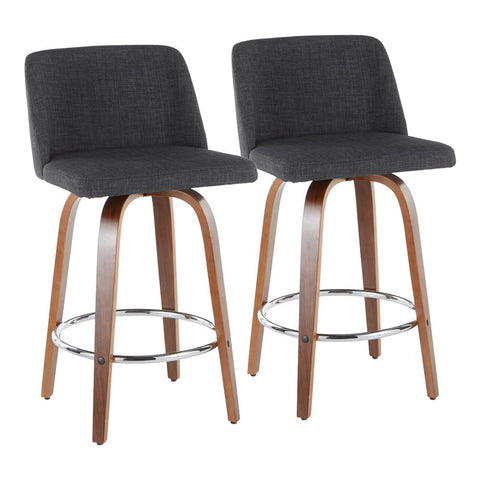 Lumisource Toriano Mid-Century Modern Counter Stool in Walnut and Charcoal Fabric - Set of 2