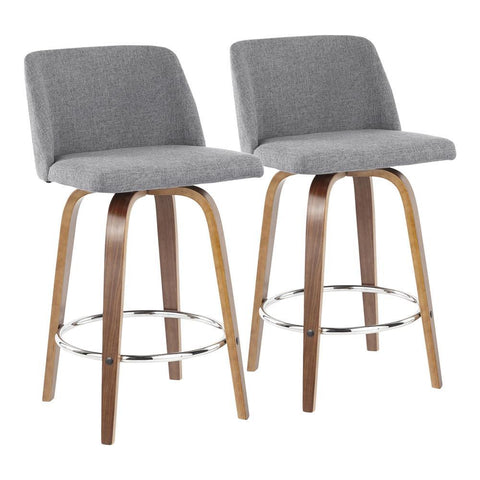 Lumisource Toriano Mid-Century Modern Counter Stool in Walnut and Grey Fabric - Set of 2