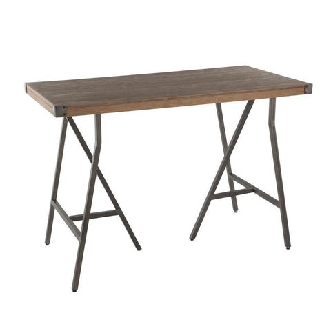 Lumisource Trestle Industrial Counter Table in Antique Metal and Brown Wood-Pressed Grain Bamboo
