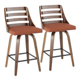 Lumisource Trevi Mid-Century Modern Counter Stool in Walnut Wood & Orange Fabric - Set of 2