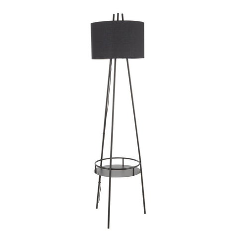 Lumisource Trident Contemporary Floor Lamp in Black Metal with Black Linen Shade and Black Metal Shelf