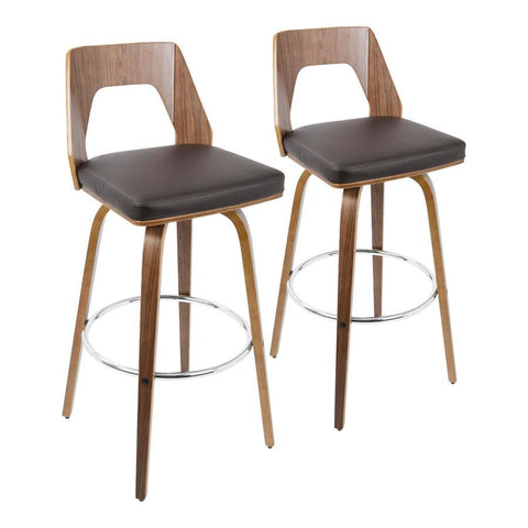 Lumisource Trilogy Mid-Century Modern Barstool in Walnut and Brown Faux Leather - Set of 2
