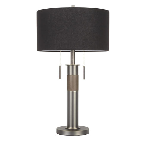 Lumisource Trophy Industrial Table Lamp in Gun Metal with Black Linen Shade