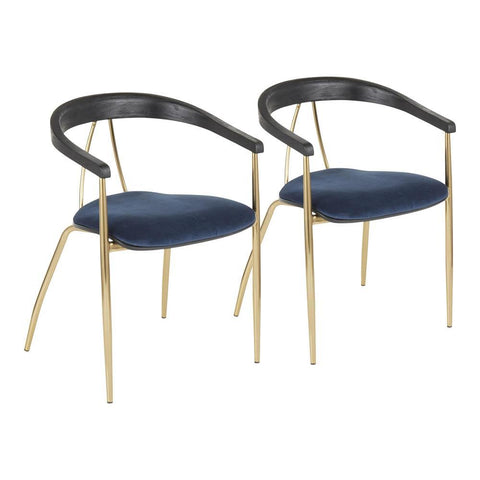 Lumisource Vanessa Contemporary Chair in Gold Metal and Blue Velvet with Black Wood Accent - Set of 2