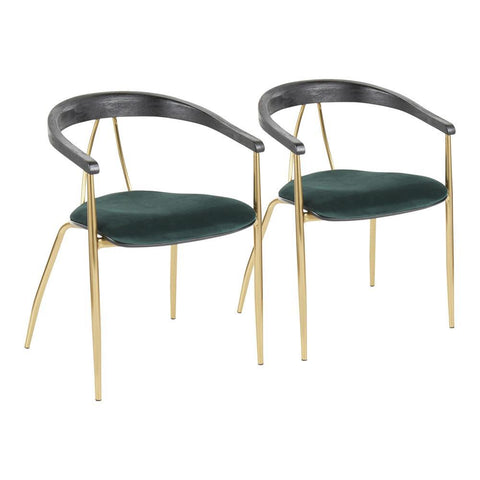 Lumisource Vanessa Contemporary Chair in Gold Metal and Green Velvet with Black Wood Accent - Set of 2