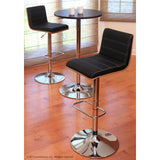 Lumisource Vasari Bar Stool In Walnut And Black Matte Polyurethane And Tan Stitching