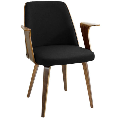 Lumisource Verdana Mid-Century Modern Dining/Accent Chair in Walnut with Black Fabric