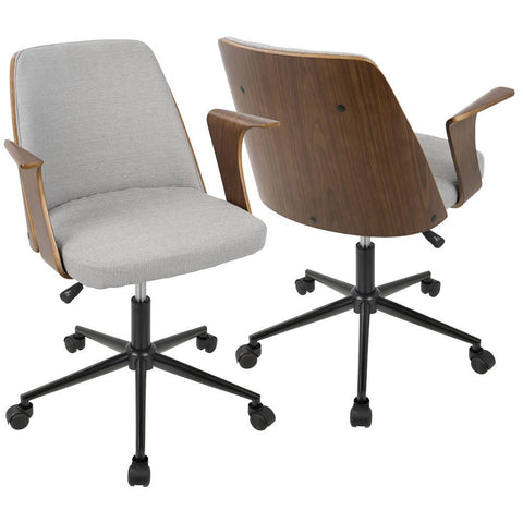 Lumisource Verdana Mid-Century Modern Office Chair in Walnut Wood and Grey Fabric