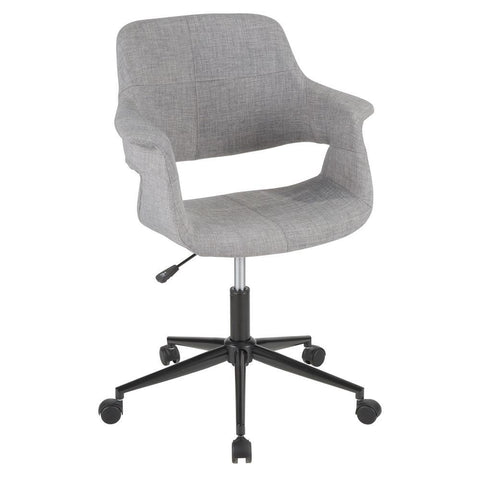 Lumisource Vintage Flair Mid-Century Modern Office Chair in Grey with Black Metal Base