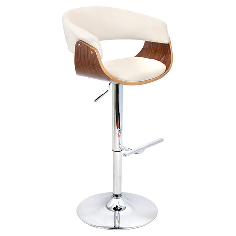 Lumisource Vintage Mod Barstool In Walnut And Cream