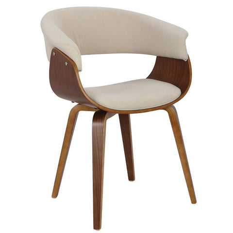 Lumisource Vintage Mod Mid-Century Modern Dining/Accent Chair in Walnut and Cream