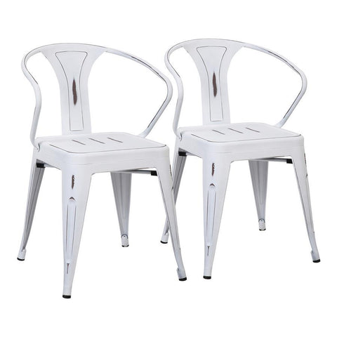 Lumisource Waco Industrial Chair in Vintage White Metal - Set of 2