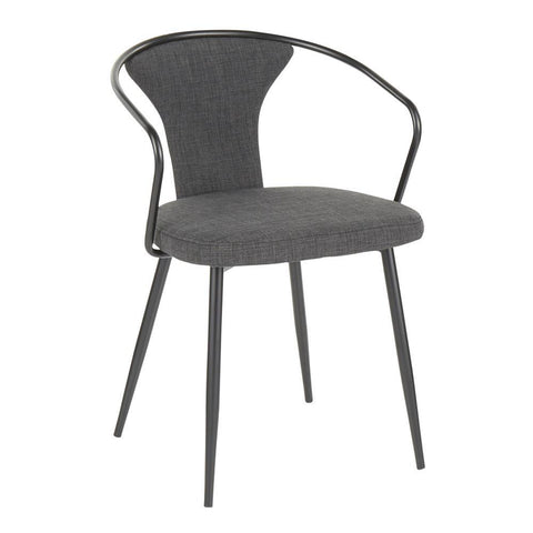Lumisource Waco Industrial Upholstered Chair in Black Metal and Dark Grey Fabric.