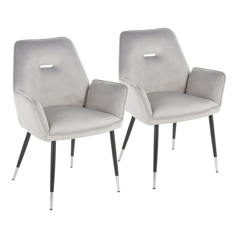 Lumisource Wendy Glam Chair in Black Metal and Silver Velvet with Chrome Accents - Set of 2