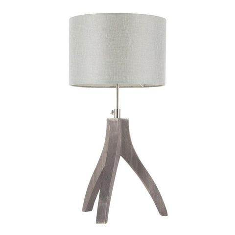 Lumisource Wishbone Contemporary Table Lamp in Wood With Light Grey Linen Shade
