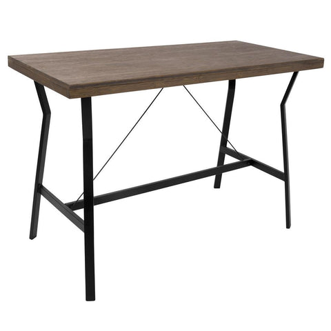 Lumisource Wishbone Industrial Counter Table in Walnut and Black