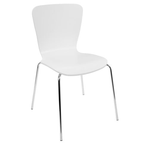 Lumisource Woodstacker Contemporary Dining Chairs in White -Set of 4