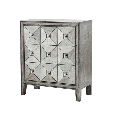 Madison Park Artisan Antiqued Silver Mirror Chest In Silver