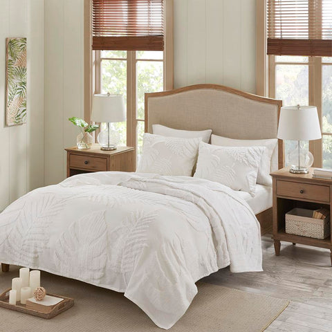 Madison Park Bahari 3 Piece Tufted Cotton Chenille Palm Coverlet Set Full/Queen