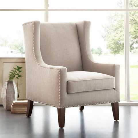 Madison Park Barton Wing Chair In Linen