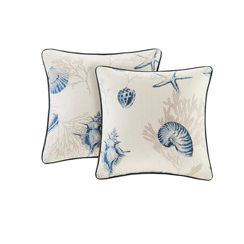 Madison Park Bayside Cotton printed Square Pillow Pair with Solid Reverse 20x20""